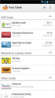 Amazon's Wallet app let users store and use various reward cards, and keep track of the balances.