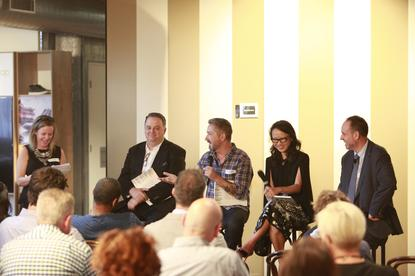 BrandHook's CEO and founder, Pip Stocks, hosts a panel discussion debating the shift in consumer expectations and what businesses can do to close the gap. From left: Pip Stocks, Dan Gregory, Kristian Wood-Taylor, Lee Moon and Andrew Baxter