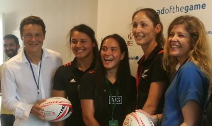 Nicolas Aidoud (left) and Virginie Regis (right) with players from the New Zealand Rugby Sevens womens' team