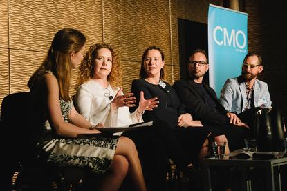 From left: CMO's Nadia Cameron, Tourism Australia's Lisa Ronson, ASC's Louise Eyres, Uber's Steve Brennen and Salesforce's Derek Laney