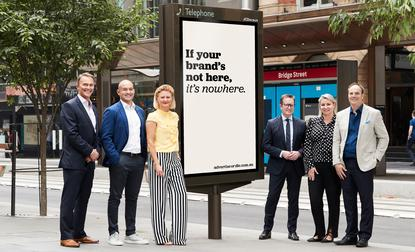Executives behind the new Advertise or Die campaign (from left):  Seven chief revenue officer, Kurt Burnett; Foxtel Media CEO, Mark Frain; Nine's director powered, Liana Dubois; Nine chief sales officer, Michael Stephenson; News Corp Australia managing director national sales, Lou Barrett; and Ooh Media chief customer officer, David Scribner