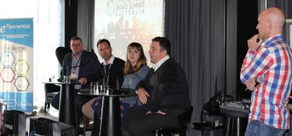 From left: ANZ's Barry John, Exponential's Ben Maudsley, Dentsu Aegis' Sylvia Pickering, IAB's Jonas Jaanimagi with Exponential's Tyler Greer