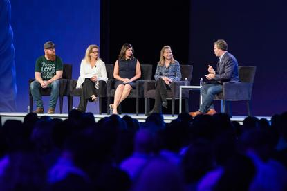 From left: Zappos' Tyler Williams, Taco Bell's Marisa Thalberg , Time Warner's Kristen O'Hara, Visa's Kim Kadlec and panel moderator, Adweek's James Cooper