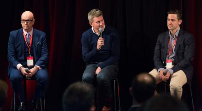 From left: AMEX head of global digital marketing, Jeffrey Evans; Telstra general manager of customer communications, Keiron Devlin; and Network Ten director of commercial, business development and CRM, Martyn Raab