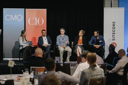 From left: CMO's Nadia Cameron, Aus Post's Silvio Giorgio, Sportsbet's Tony Gruebner, Tennis Australia's Josie Brown, and Catch Group's Ryan Gracie