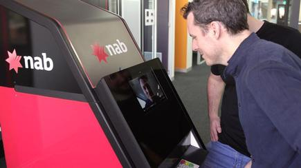 Customer tries out the NAB ATM facial recognition technology
