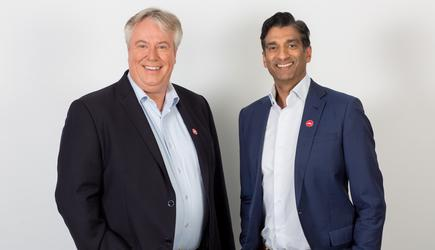 Chet patel (Left) with Pizza Hut CEO, Phil Reed