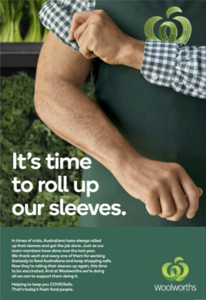 Woolworths asks the public to follow its teams' lead