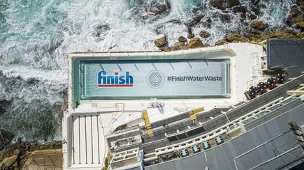 The 'Finish water waste' initiative features at Bondi Icebergs