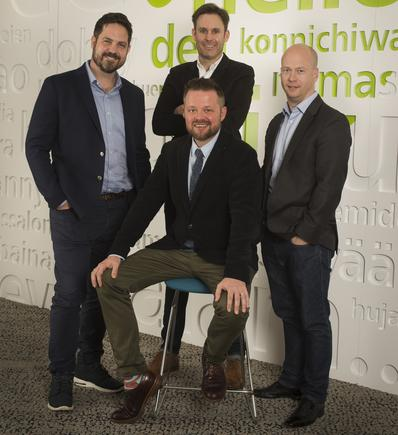 From left: Shane Currey, Deloitte National Design lead, Matt Taylor (seated) and Nathan Fitzpatrick (standing) from The Explainers, and Frank Farrall, Deloitte Customer Practice leader