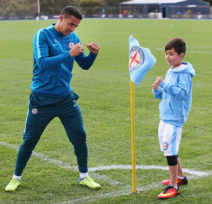 Melbourne City's Tim Cahill and Yoshi