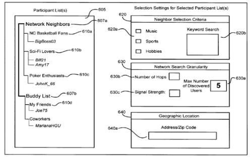 Sample screens for selecting preferences on a proximity wireless mesh network, as shown in a Facebook patent application.