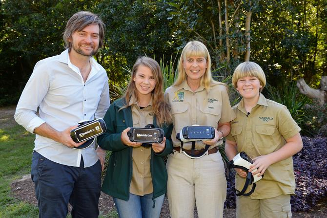 The Australia Zoo team (from left): Khemistry's Andy Fyffe, Bindi Irwin, Terri Irwin and Bob Irwin