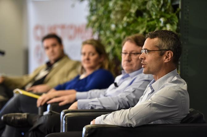 From left: Auto & General's Jonathan Kerr; Optus Business' Karen Platt; Super Retail Group's Kevin McAulay; and NIB Health Fund's Rhod McKensey