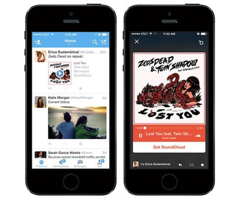Twitter's Audio Cards let users tweet songs in enhanced music players.