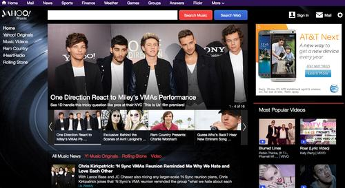 The landing page for Yahoo's recently redesigned music site.