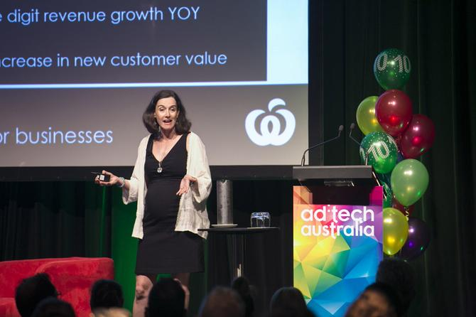 Woolworths Online's head of B2B, Jae Eddison speaking at AdTech