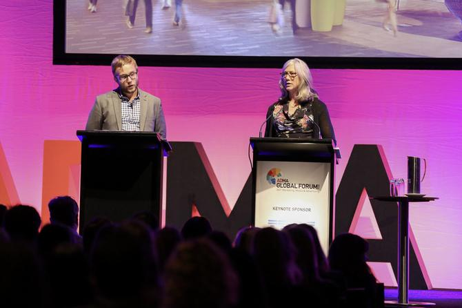 Cory Surovek, manager of common area design Westfield Group, and Michaela Brockstedt at the ADMA Global Forum.