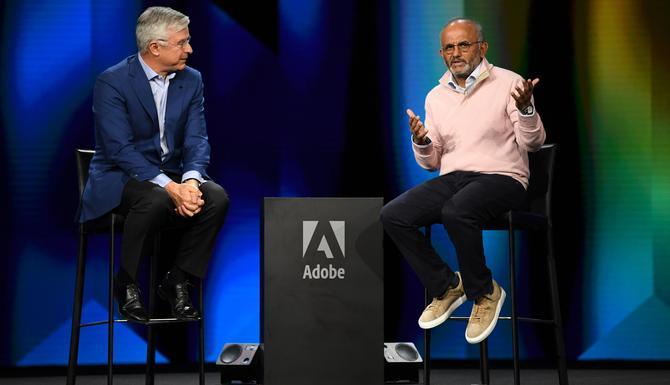 Best Buys CEO, Hubert Joly (left) with Adobe's Shantanu Narayen