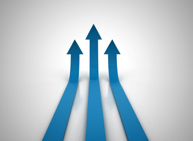 Three red arrows going up
