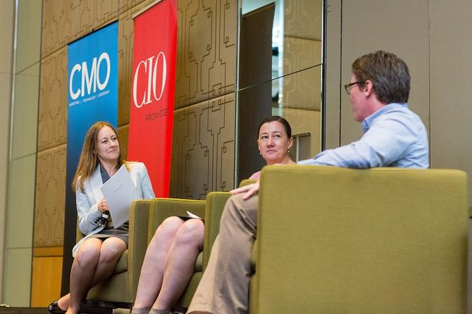From left: CMO's Nadia Cameron, St John of God Health Care's Sally-ann Parker and Precedent's Dan Baker at the CMO/CIO/ADMA Executive connections event in Melbourne