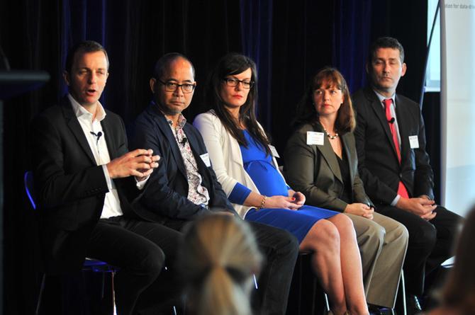John Batistich (far left), Andrew Lam-Po-Tang, Maggie Buggie, Karen Scott Davie, and Nick Adams