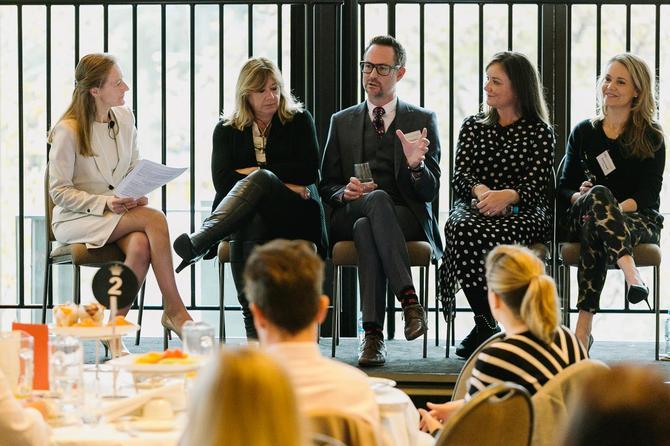 From left: CMO's Nadia Cameron; IAG's Jill Baptist; Vicinity Centres'  David Henderson; NAB's Sarah Graham; Xero's Rachael Powell