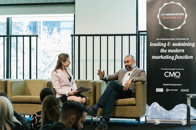 Bankwest's Andrew Chanmugam speaking at CMO Momentum Melbourne 2019