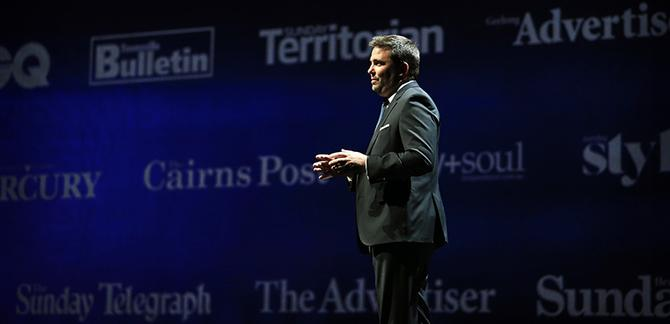 Damian Eales on stage at News Corp's Sydney event