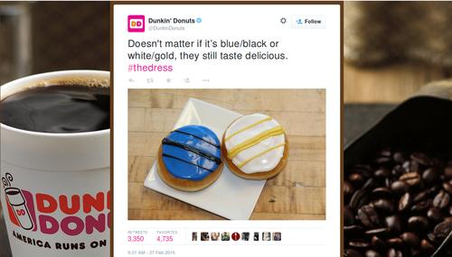 "Dunkin' Donuts capitalizes on ""Dressgate""."