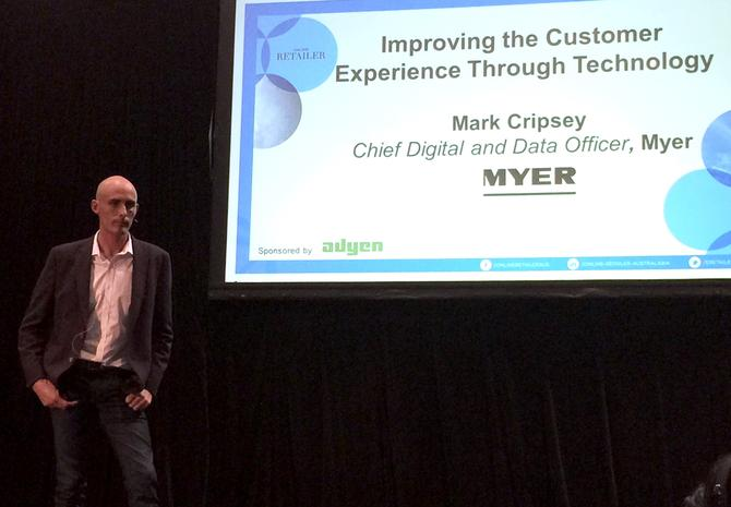 Myer's chief digital and data officer, Mark Cripsey, speaking at the Online Retailers Conference 2016 in Sydney