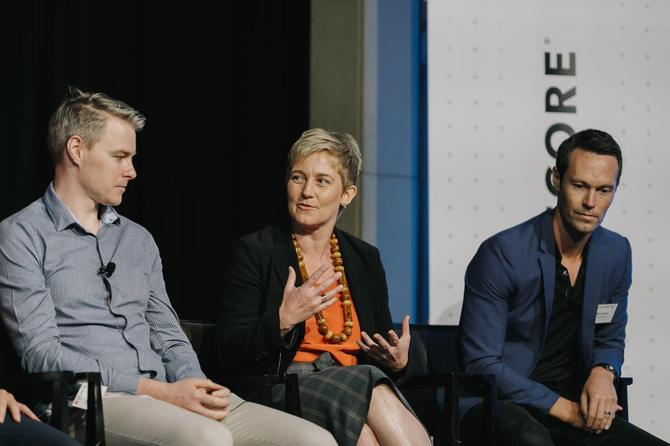 Tony Gruebner, Josie Brown and Ryan Gracie at the recent CMO-CIO Executive Connections event