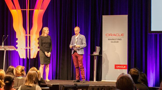 Lorelle Carpenter on-stage with Oracle Marketing Cloud's Will Griffith