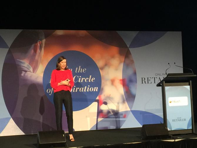 Australian cosmetic retailer Mecca's head of digital, Anna Stockley, speaking at the Online Retailers Conference 2016 in Sydney