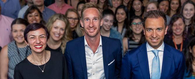 From left: Dentsu X general manager in Melbourne, Corina Cosma; MD for APAC, James Hawkins; and Dentsu Aegis Network A/NZ CEO, Simon Ryan