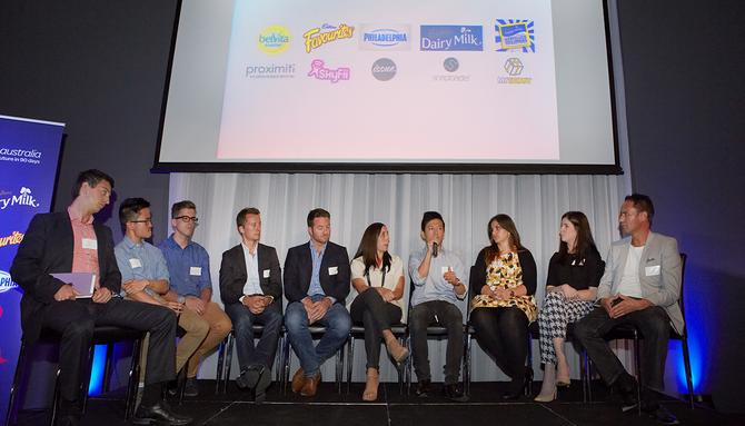 Pictured (L-R): Alex Topaloski, Proximiti, Tony Nguyen, belVita Brand Manager, Richard Weisinger, Marvellous Creations Brand Manager, Ian Robinson, Skyfii, Wayne Arthur, Skyfii, Jessica Finer, Cadbury Favourites Senior Brand Manager, Taylor Luk, Issue, Bianca Melky, Philadelphia Cream Cheese Senior Brand Manager, Stephanie Ringwood, Cadbury Dairy Milk Brand Manager, Vernon Williams, Snaploader