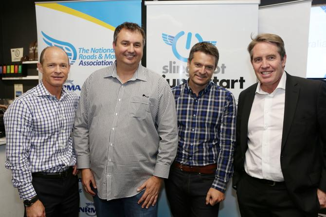 The men behind the NRMA Jumpstart accelerator. From left to right: NRMA GM corporate strategy, Michael Pastega; Slingshot co-founders Craig Lambert and Trent Bagnall; and NRMA Group CEO Tony Stuart. Credit: NRMA