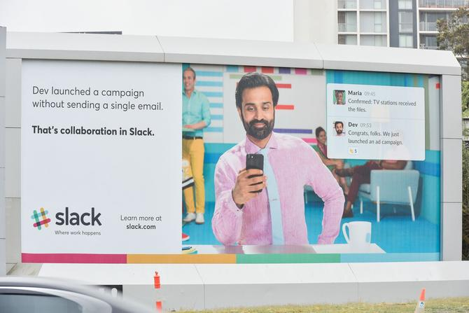 An example of Slack's first Australian brand campaign