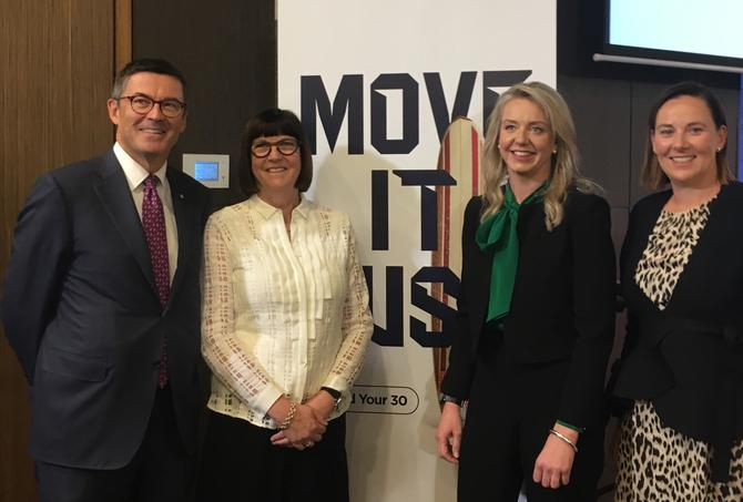 From left: John Wylie (Sport Australia chair), Kate Palmer (Sport Australia CEO), Senator Bridget Mckenzie (Federal Minister for Sport) and Louise Eyres (Sport Australia CMO)