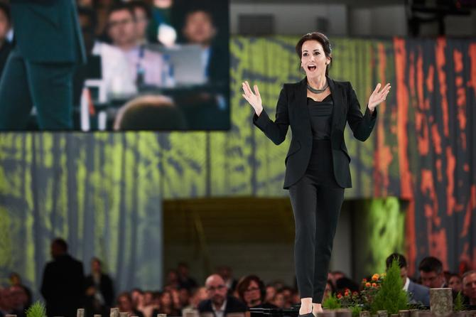 Stephanie Buscemi on stage at Dreamforce 2019