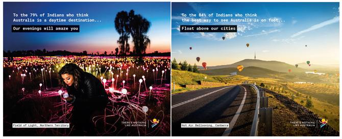 Examples of collateral from Tourism Australia's UnDiscovered Campaign 2018
