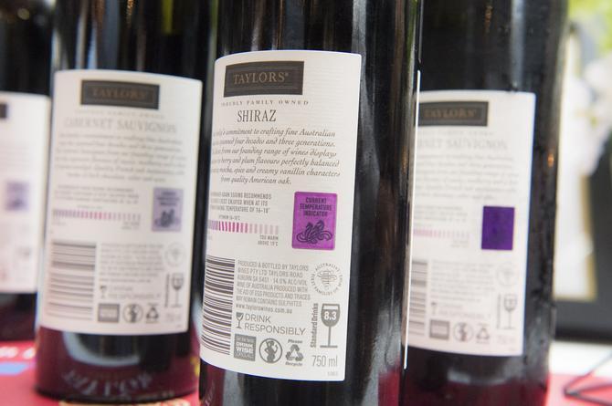 Taylor Wines bottles with unique temperature sensor