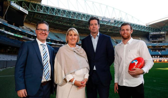From left: AFL's Gillon McLachlan; Telstra's Joe Pollard; AFL players association's Paul Marsh; and AFL player, Sean Docherty