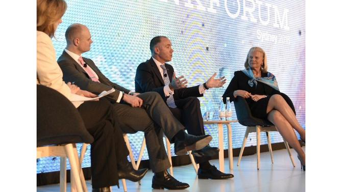 From left: Myer CEO, Richard Umbers, NAB CEO, Andrew Thorburn, IBM chairman, president and CEO, Ginni Rometty