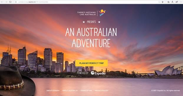 Tourism Australia is ramping up awareness of its 'An Australian Adventure'  campaign through a new partnership using Expedia's technology platform