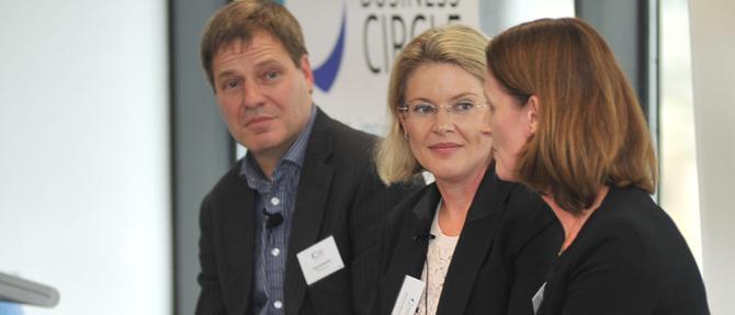 Australia POst's Greg Sutherland, CBA's Vittoria Shortt; Optus' Vicky Brady