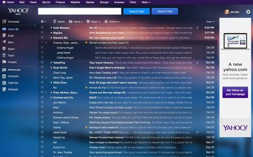 Yahoo's new Mail, as pictured on Oct. 18, 2013.