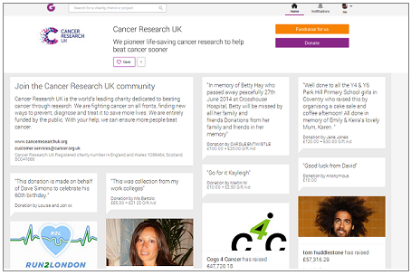 JustGiving Care button launches