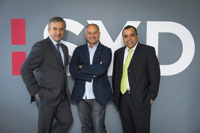 From left: Dominique Delport with new head of Havas Media Group in Australia, Mike Wilson, and CEO of Asia-Pacific, Vishnu Mohan