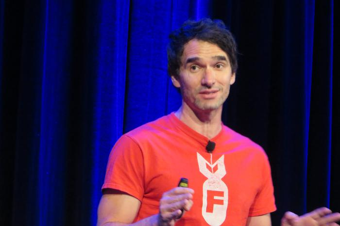 Todd Sampson talks dinosaurs at the PayPal Secure Insights breakfast in Sydney. Credit: Adam Bender